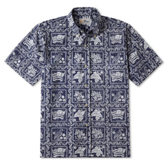 Reyn Spooner Lahaina Sailor Fit Hawaiian Shirt in Navy