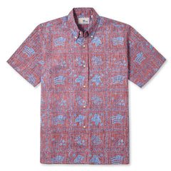Reyn Spooner Lahaina Sailor Fit Hawaiian Shirt in SALMON