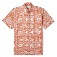 Reyn Spooner Lahaina Sailor Fit Hawaiian Shirt in APRICOT