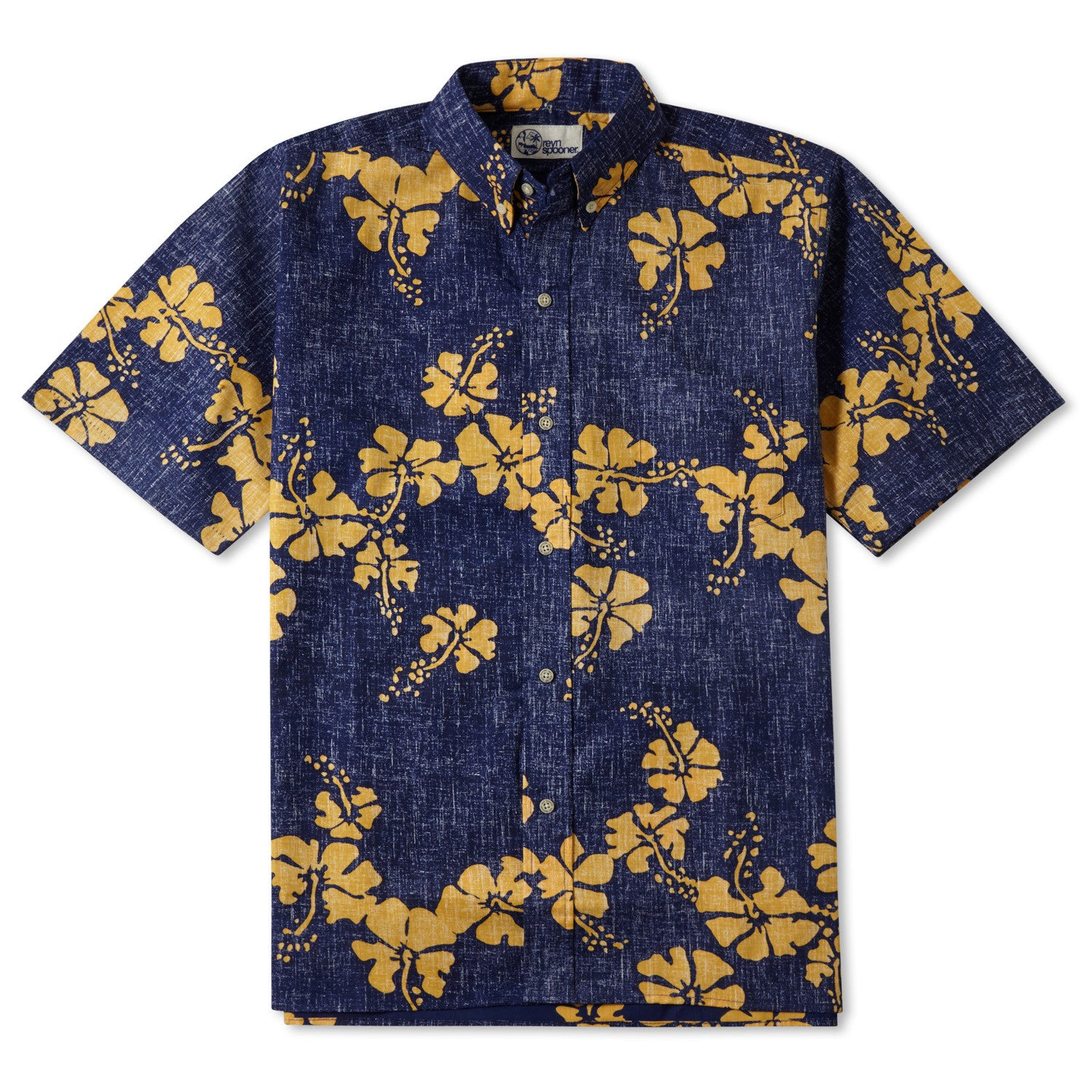 50Th State Flower / Classic Fit Button Front Shirt, Cotton/Polyester, For Men, 2XL, Navy Blue, From Reyn Spooner