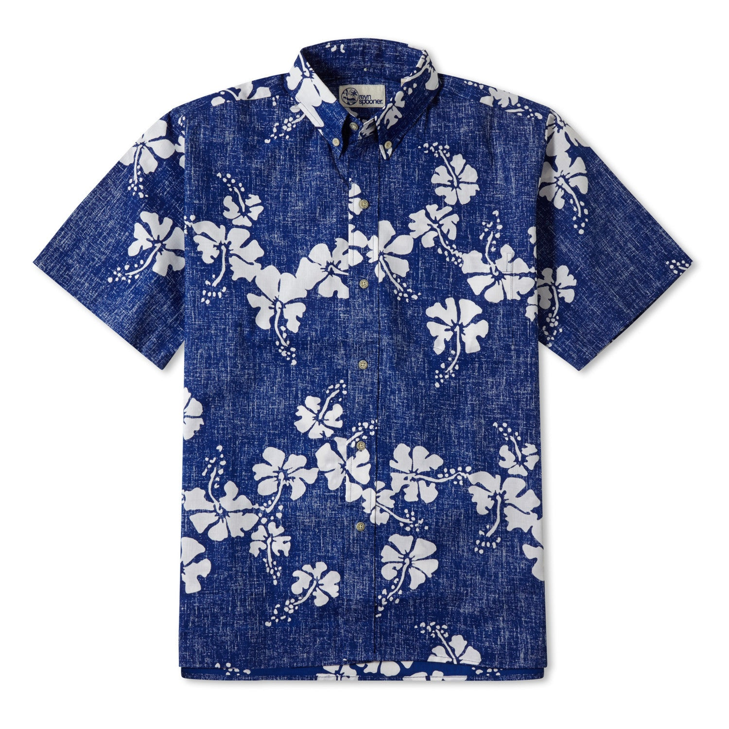 50Th State Flower / Classic Fit Button Front Shirt, Cotton/Polyester, For Men, 2XL, Blue, From Reyn Spooner