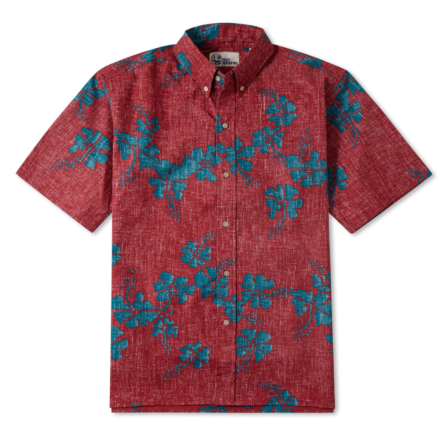 50Th State Flower / Classic Fit Button Front Shirt, Cotton/Polyester, For Men, 2XL, Red, From Reyn Spooner