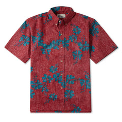 Reyn Spooner 50th State Flower Hawaiian Shirt in red