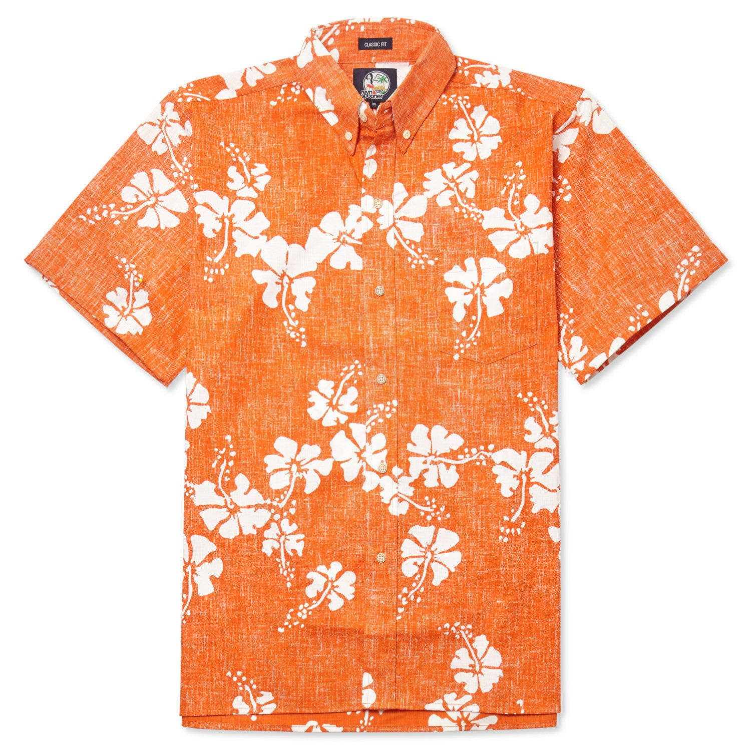 50Th State Flower / Classic Fit Button Front Shirt, Cotton/Polyester, For Men, 2XL, Orange, From Reyn Spooner