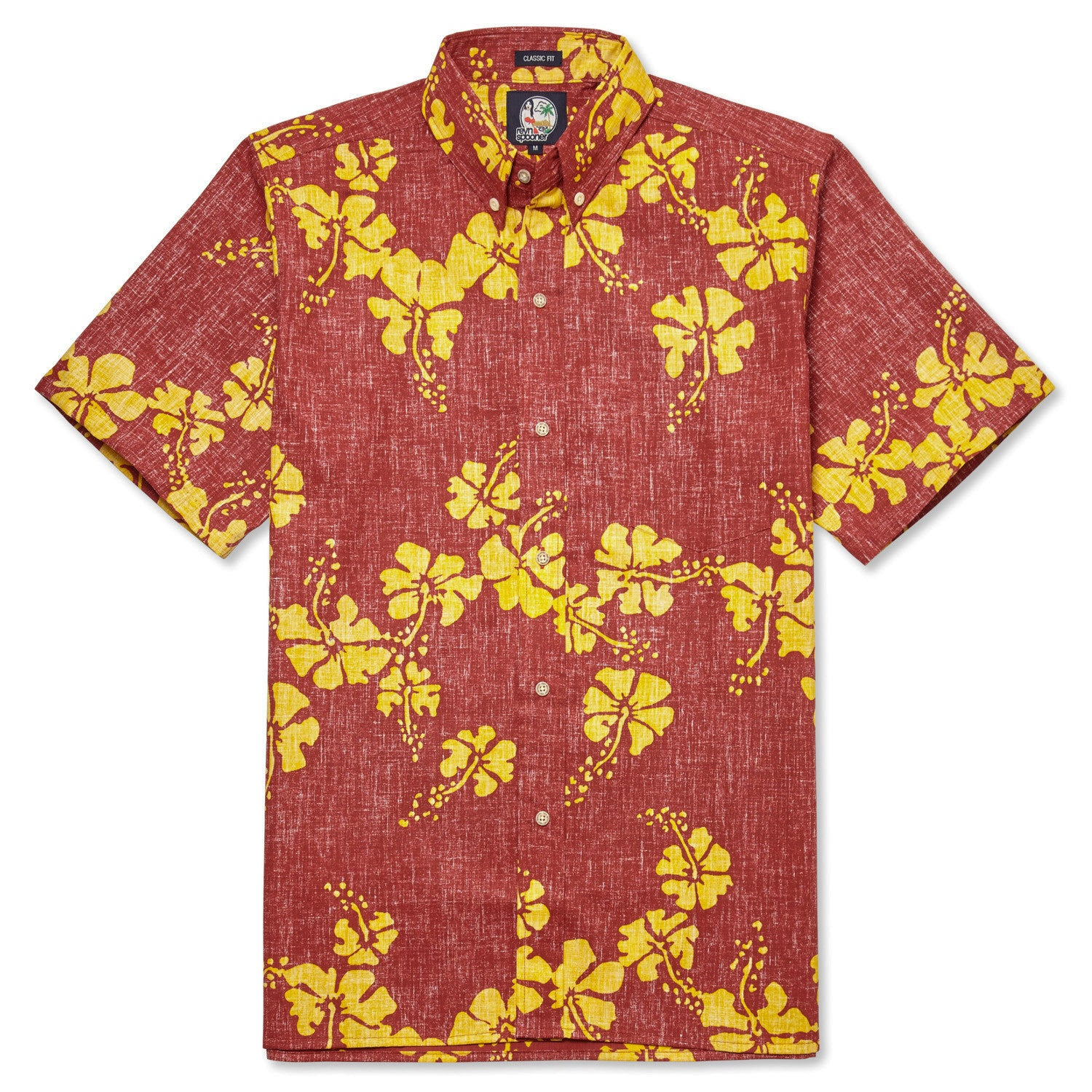 50Th State Flower / Classic Fit Button Front Shirt, Cotton/Polyester, For Men, 2XL, Crimson Red, From Reyn Spooner