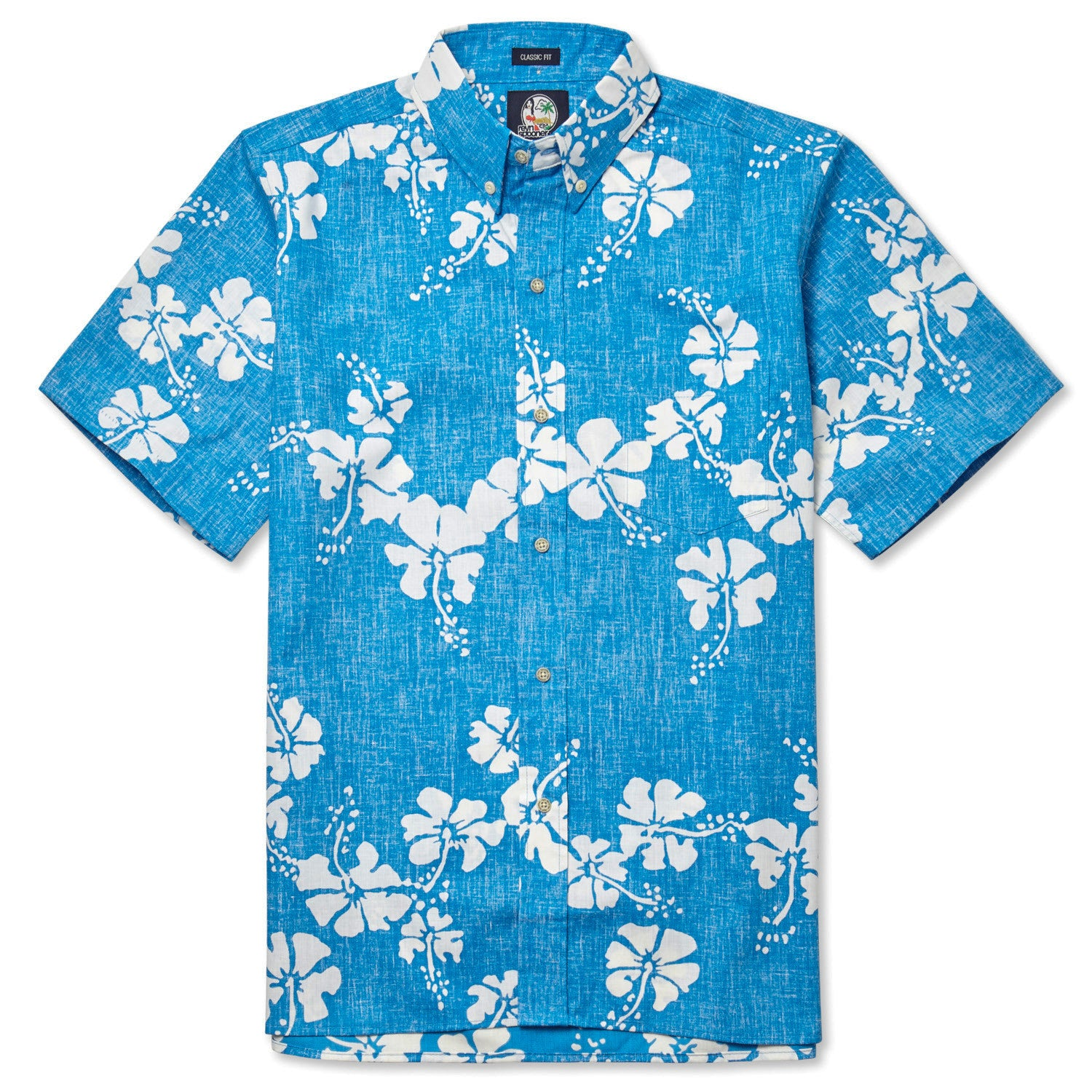 50Th State Flower / Classic Fit Button Front Shirt, Cotton/Polyester, For Men, 2XL, Sky Blue, From Reyn Spooner