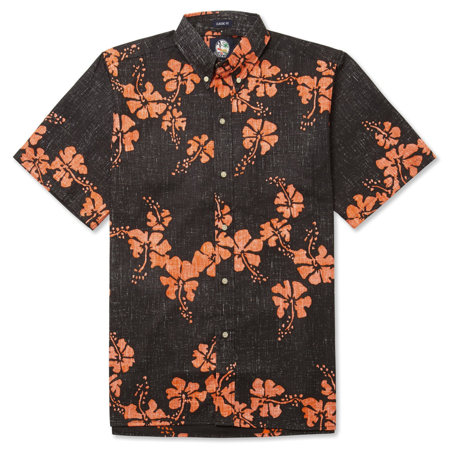 50Th State Flower / Classic Fit Button Front Shirt, Cotton/Polyester, For Men, 2XL, Black, From Reyn Spooner