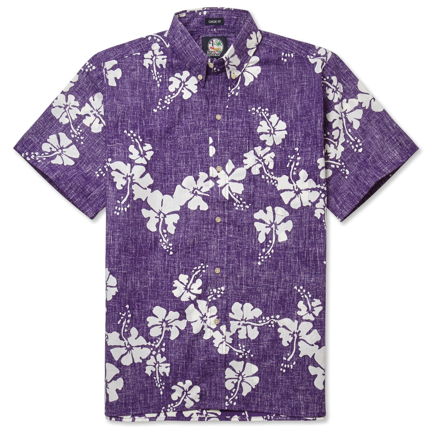 50Th State Flower / Classic Fit Button Front Shirt, Cotton/Polyester, For Men, 2XL, Purple, From Reyn Spooner