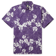 Reyn Spooner 50th State Flower Hawaiian Shirt in PURPLE