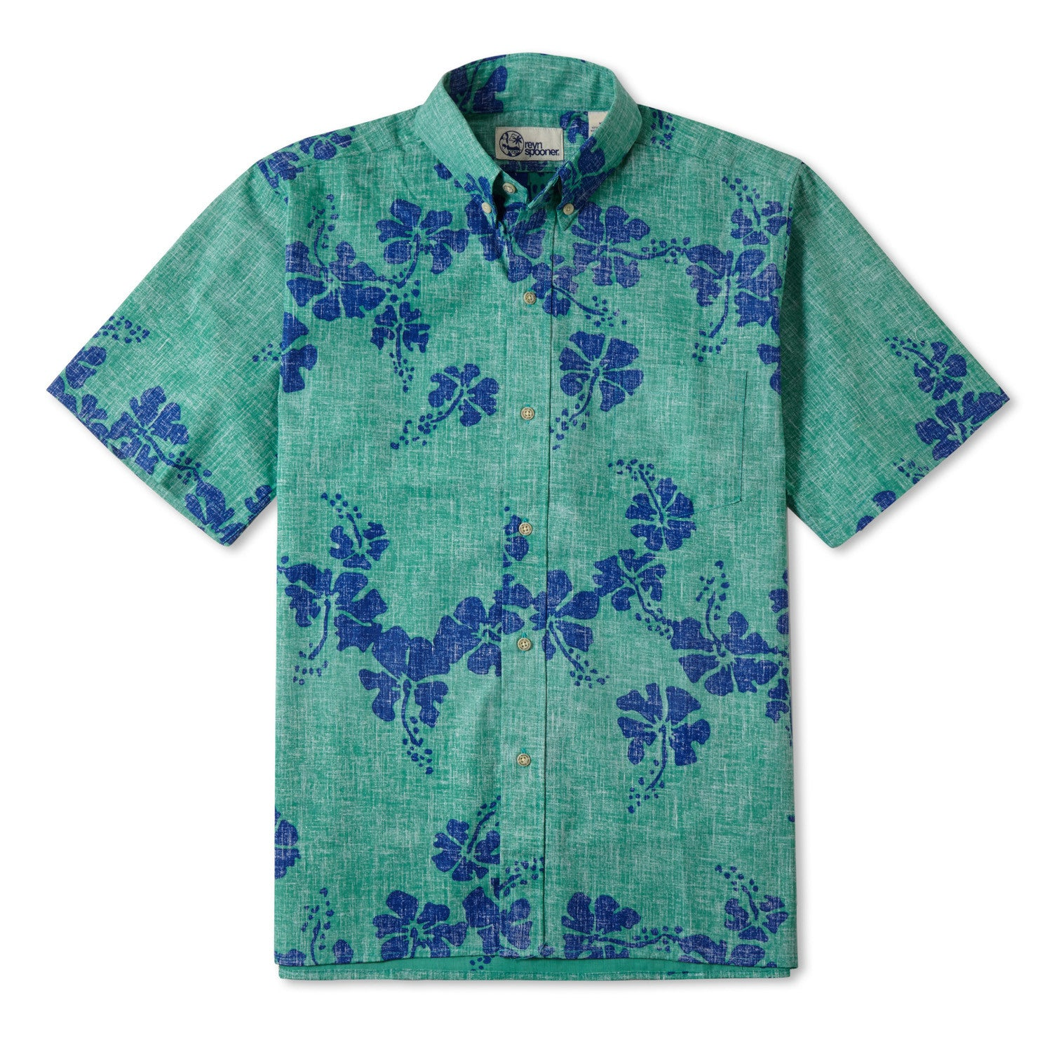 50Th State Flower / Classic Fit Button Front Shirt, Cotton/Polyester, For Men, 2XL, Mint Green, From Reyn Spooner