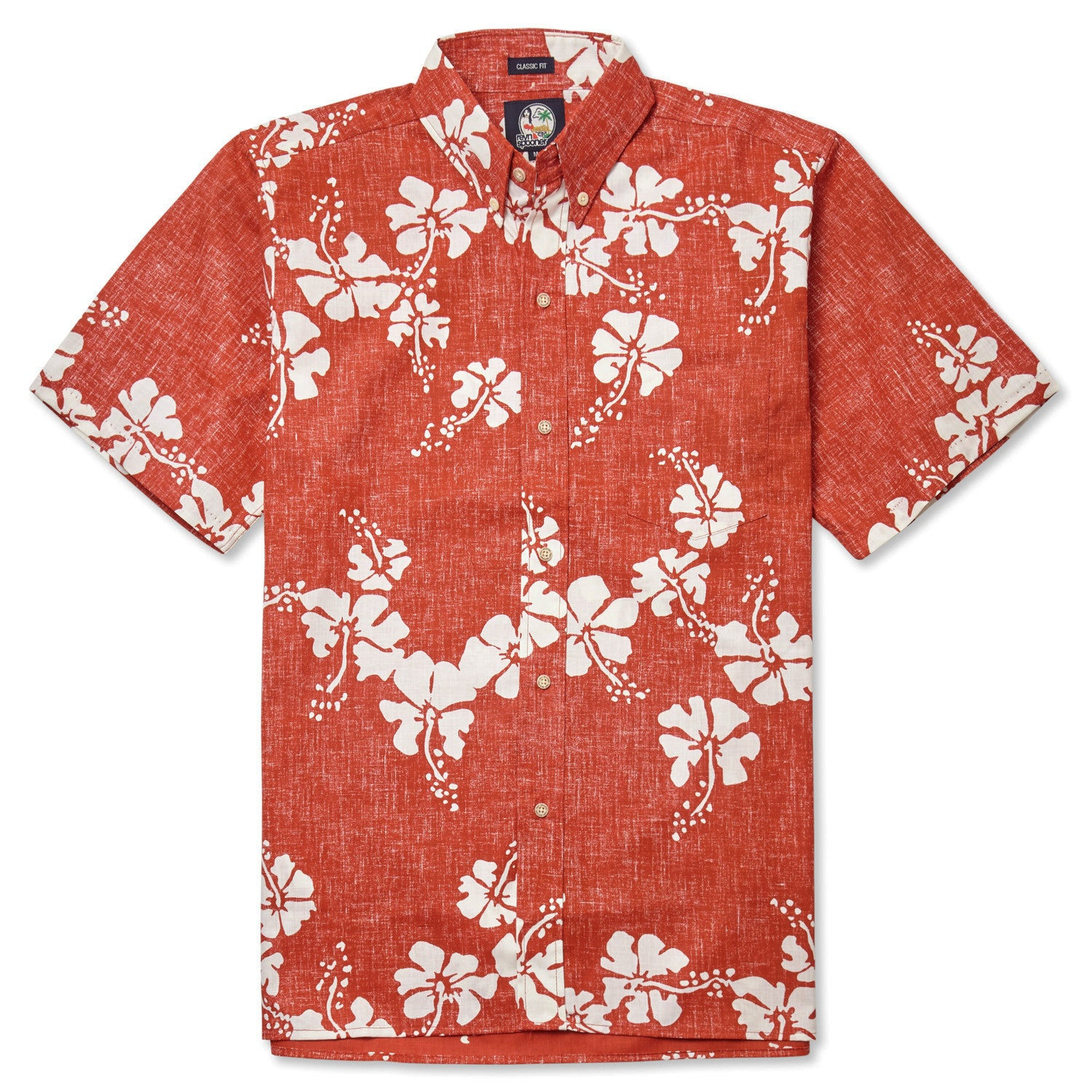 50Th State Flower / Classic Fit Button Front Shirt, Cotton/Polyester, For Men, 2XL, Cardinal Red, From Reyn Spooner