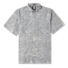 Reyn Spooner Seaside Tapa Hawaiian Shirt in SMOKE
