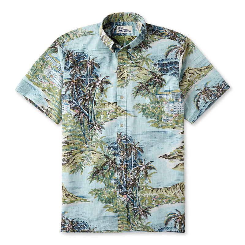 327c7897a Reyn Spooner Diamond Head Hawaiian Shirt in PALE BLUE BUTTON FRONT