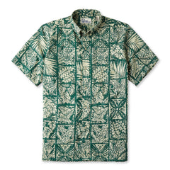 Reyn Spooner Forest Tapa Hawaiian Shirt in DARK FOREST