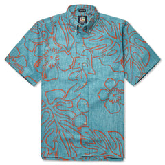 Reyn Spooner Monstera Ink Hawaiian Shirt in AQUA