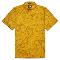 Reyn Spooner Monstera Ink Hawaiian Shirt in MUSTARD
