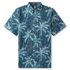Reyn Spooner Palm Tree printed Hawaiian Shirt in NAVY