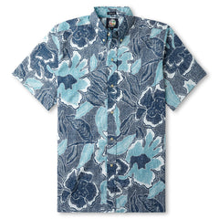Reyn Spooner Pua Fields Floral Hawaiian Shirt in LAKE Blue