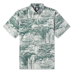 Reyn Spooner Ino Kai Voyager Hawaiian shirt in HUNTER GREEN