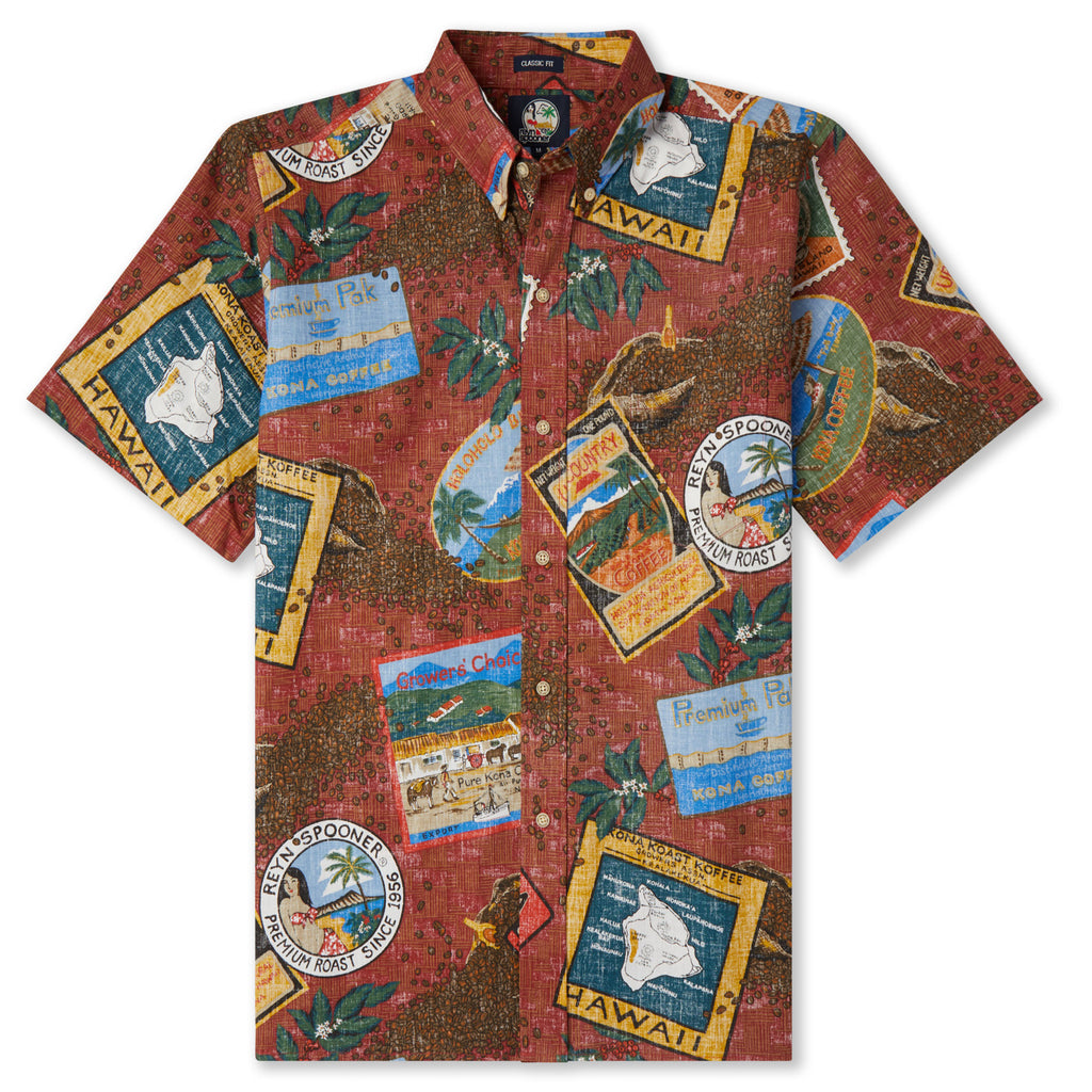 Reyn Spooner Hawaiian Kona Coffee Shirt in RED