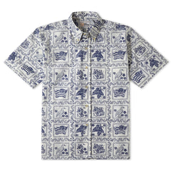 Reyn Spooner Lahaina Sailor Fit Hawaiian Shirt in Natural