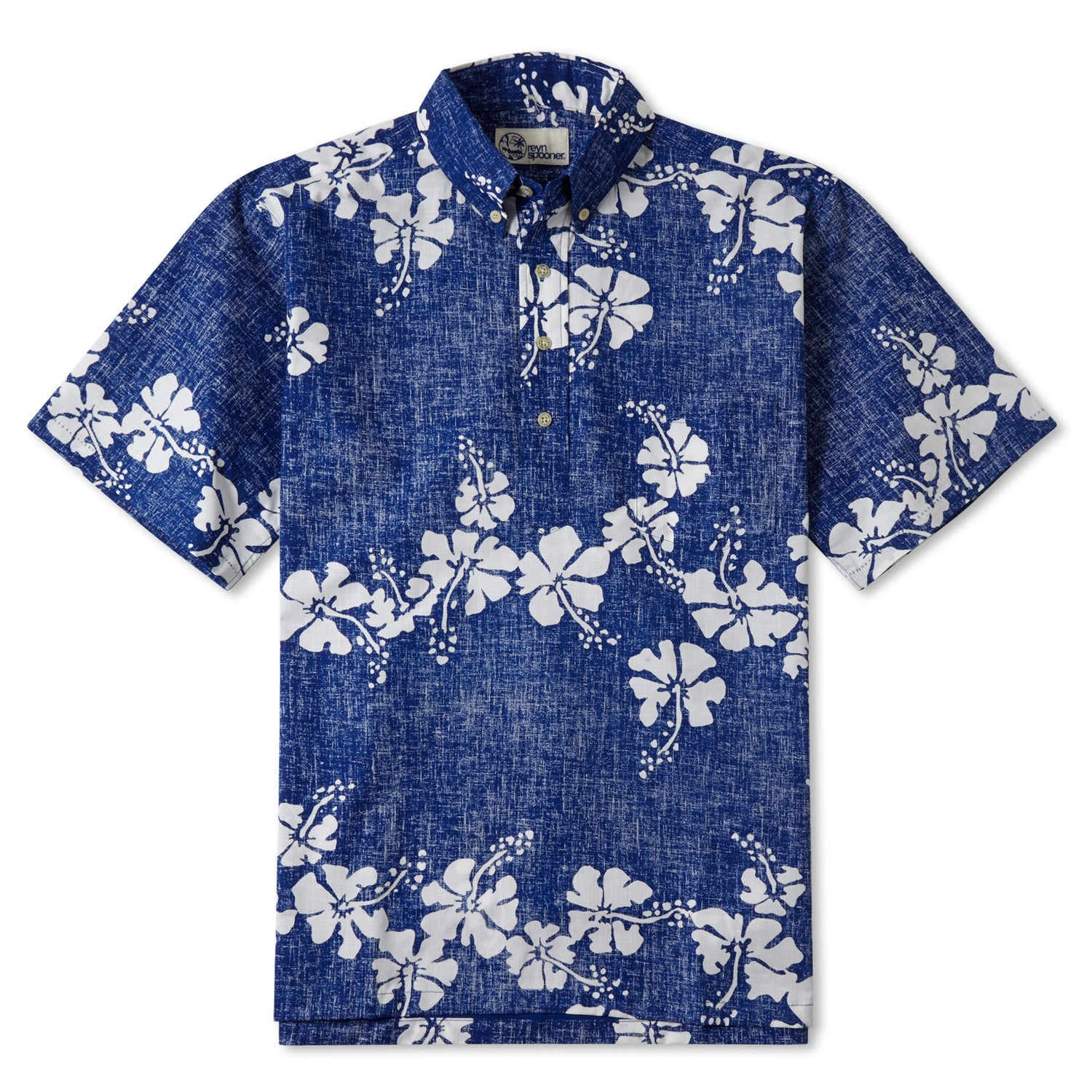 50Th State Flower Classic Fit Short Sleeve Pullover Shirt, Cotton/Polyester, For Men, 2XL, Blue, From Reyn Spooner