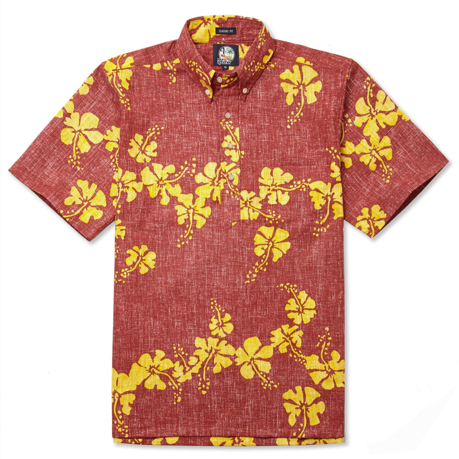 50Th State Flower Classic Fit Short Sleeve Pullover Shirt, Cotton/Polyester, For Men, 2XL, Crimson Red, From Reyn Spooner