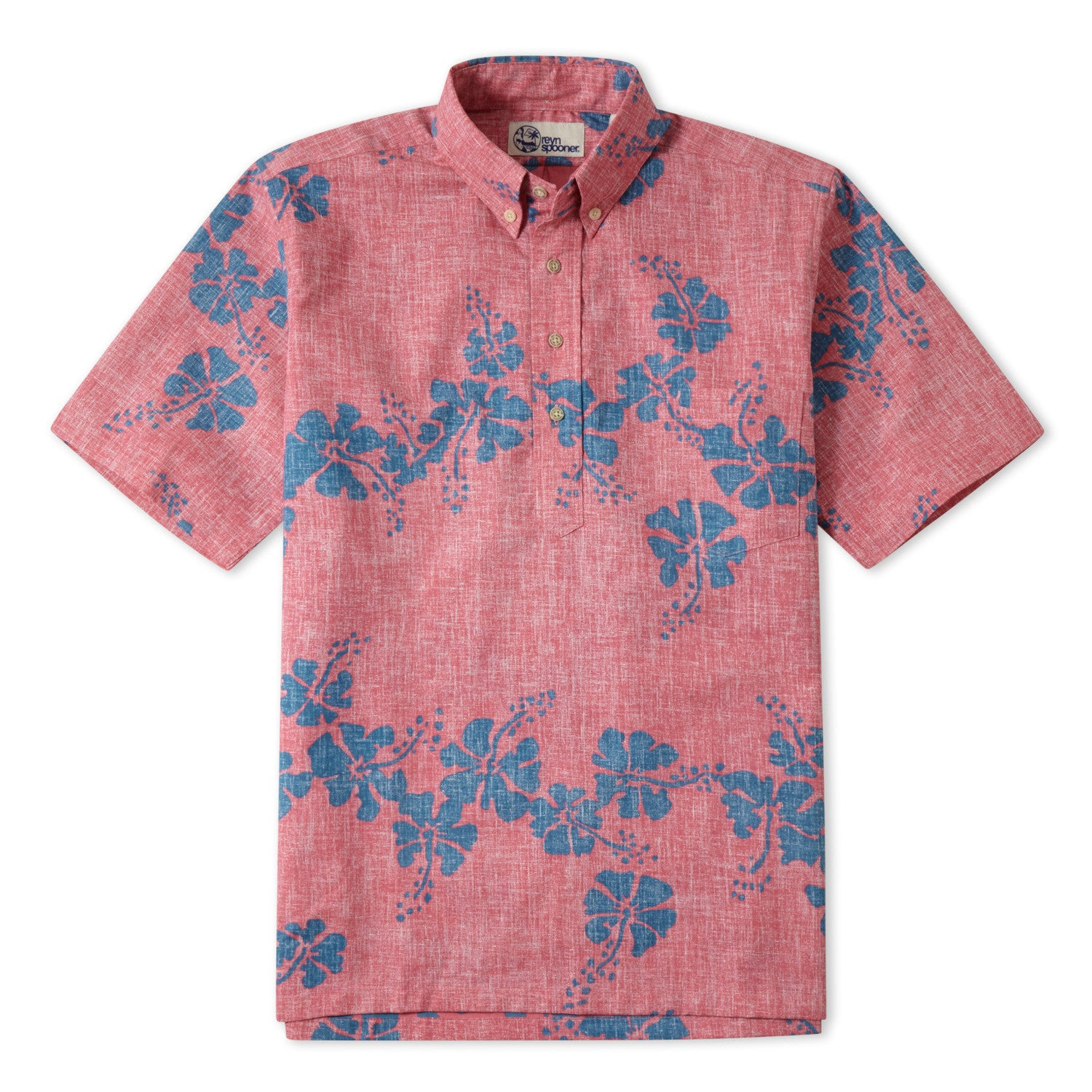 50Th State Flower Classic Fit Short Sleeve Pullover Shirt, Cotton/Polyester, For Men, 3XL, Pink, From Reyn Spooner