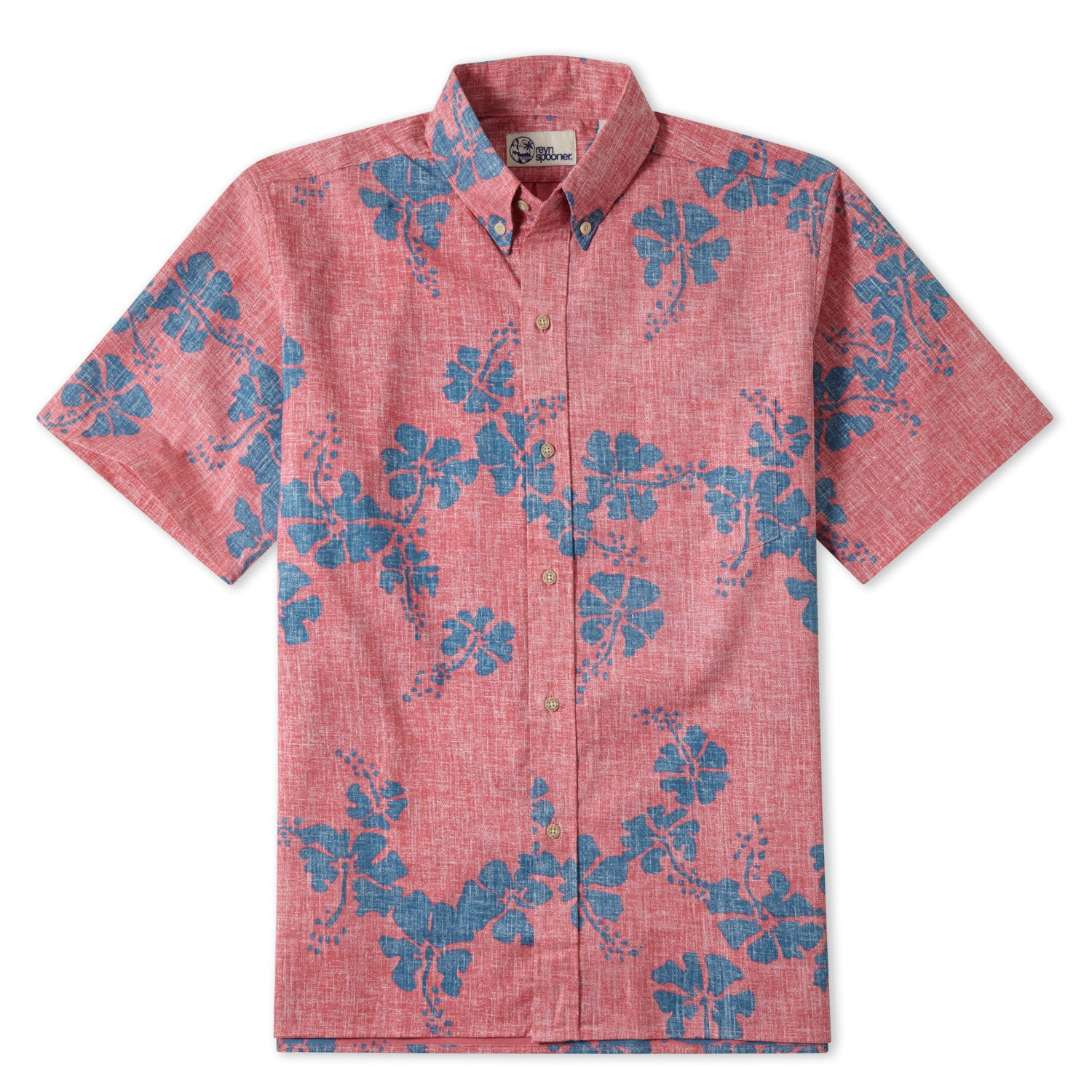50Th State Flower / Classic Fit Button Front Shirt, Cotton/Polyester, For Men, 2XL, Pink, From Reyn Spooner