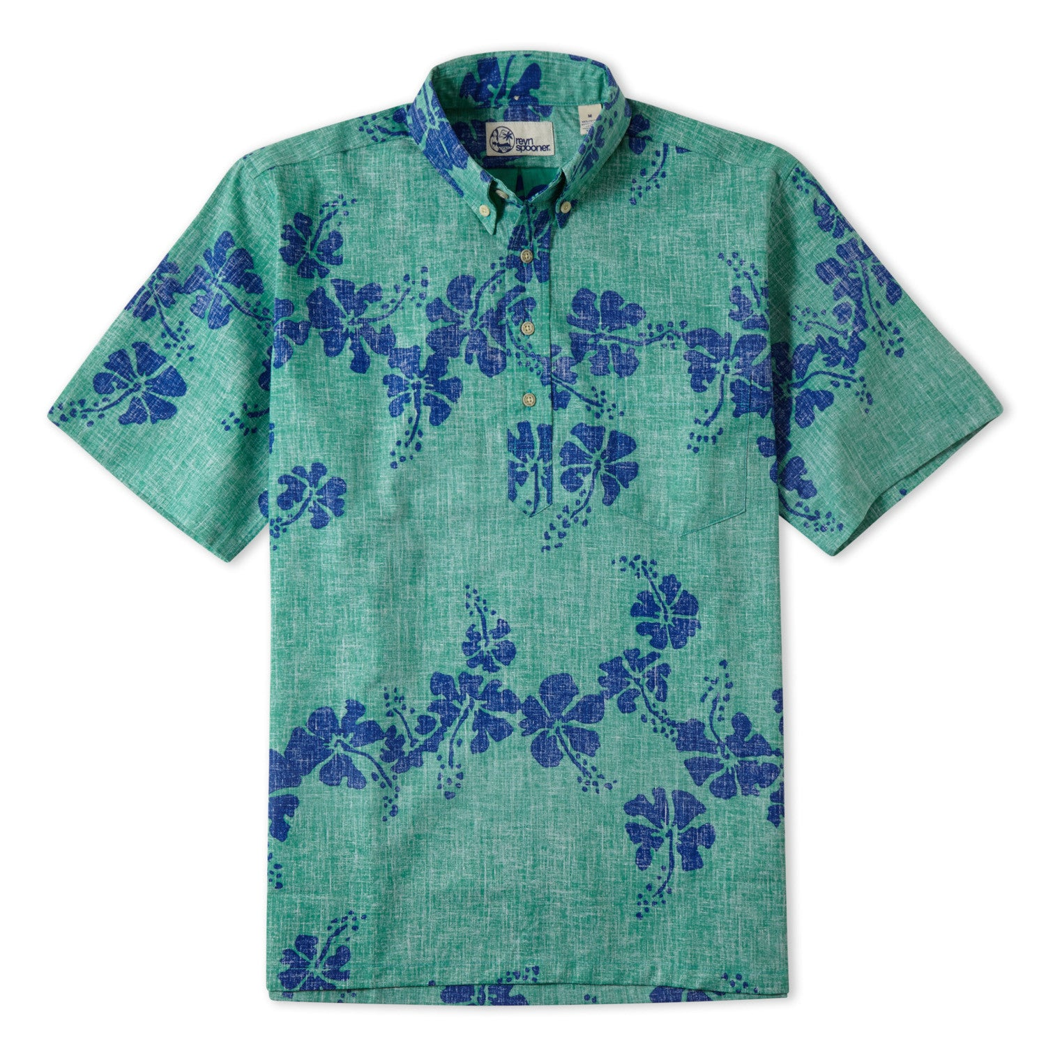 50Th State Flower Classic Fit Short Sleeve Pullover Shirt, Cotton/Polyester, For Men, 2XL, Mint Green, From Reyn Spooner