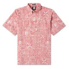 Reyn Spooner Seaside Tapa Hawaiian Shirt in CRIMSON