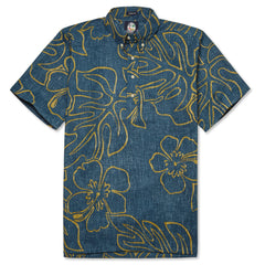 Reyn Spooner Monstera Ink Hawaiian Shirt in NAVY