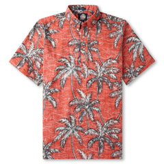Reyn Spooner Palm Tree printed Hawaiian Shirt in CORAL