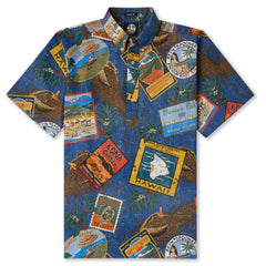 Reyn Spooner Hawaiian Kona Coffee Shirt in NAVY