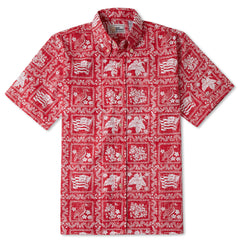 Reyn Spooner Lahaina Sailor Fit Hawaiian Shirt in Red