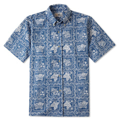Reyn Spooner Lahaina Sailor Fit Hawaiian Shirt in Denim