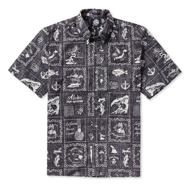 Reyn Spooner Stories from the East Classic Fit Shirt in BLACK BUTTON FRONT