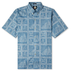Reyn Spooner Newport Sailor Classic Hawaiian Shirt in DENIM