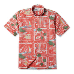 Reyn Spooner Golden Vista Hawaiian Shirt in CORAL