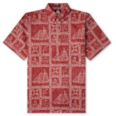 Reyn Spooner Newport Sailor Classic Hawaiian Shirt in RED