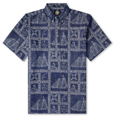 Reyn Spooner Newport Sailor Classic Hawaiian Shirt in NAVY