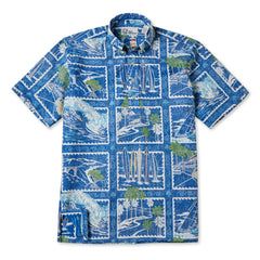 Reyn Spooner Golden Vista Hawaiian Shirt in MARINE