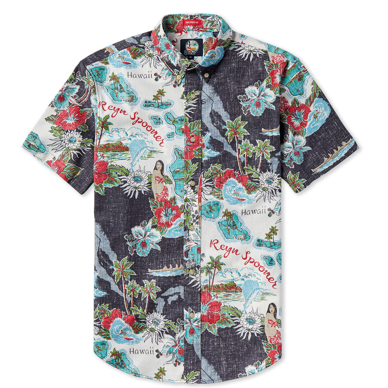 dcfe03fb141 Reyn Spooner Vintage Hawaiian Black Standard Fit Shirt