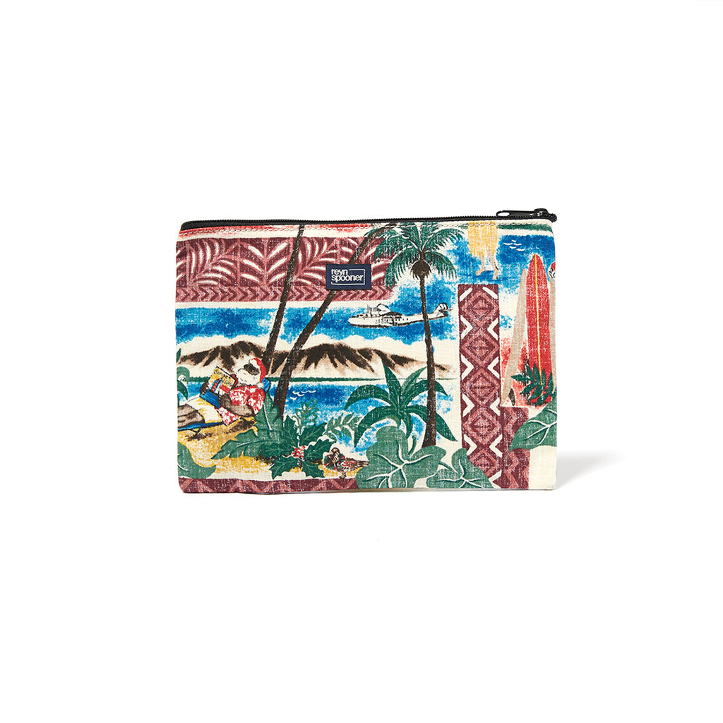 Reyn Spooner Hawaiian Christmas Cosmetic Pouch in MAROON