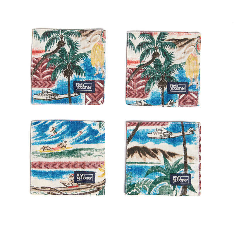 Reyn Spooner Hawaiian Christmas Coasters in MAROON