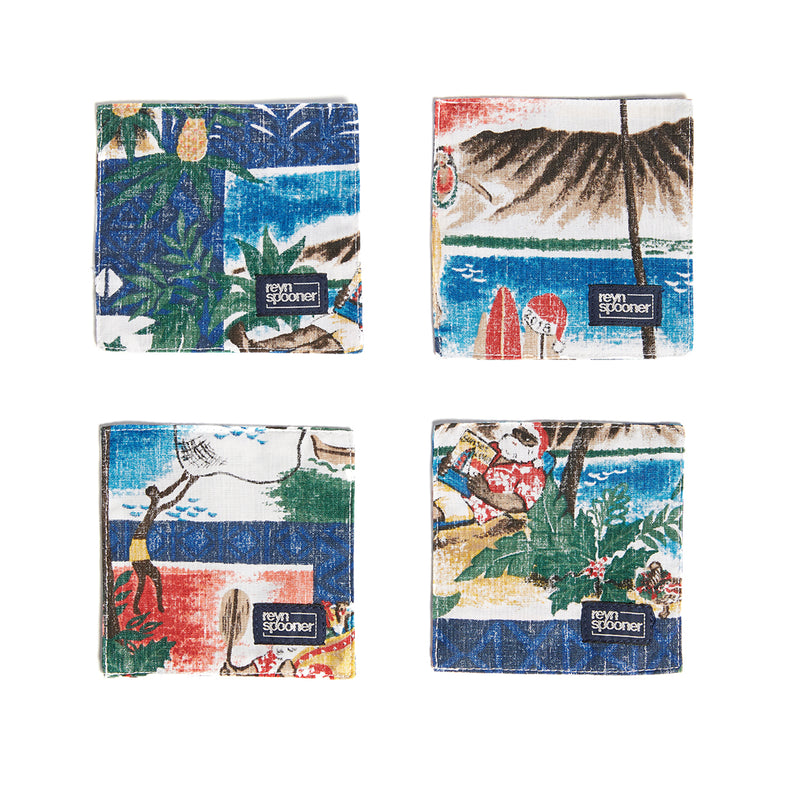 Reyn Spooner Hawaiian Christmas Coasters in ROYAL