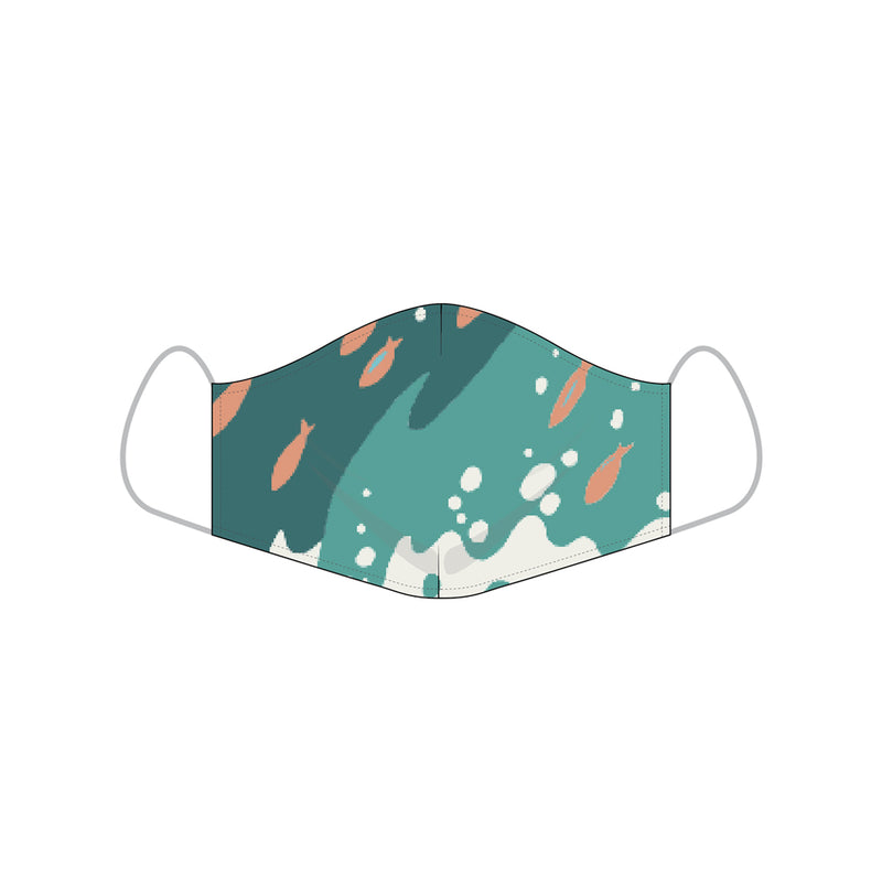 Reyn Spooner ALOHA MASKS in PACIFIC SWELL BAYOU GREEN - COTTON SMALL