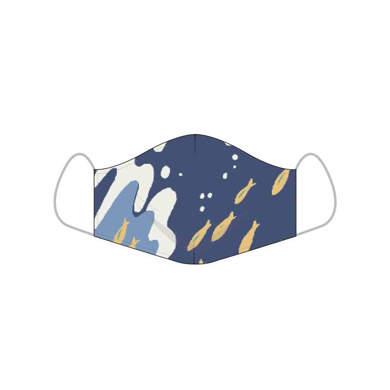Reyn Spooner ALOHA MASKS in PACIFIC SWELL TRUE NAVY - COTTON SMALL