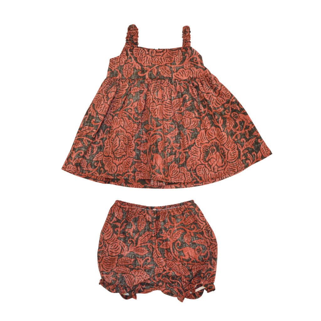 Year of the Monkey Toddler Dress and Bloomers (6M-18M)