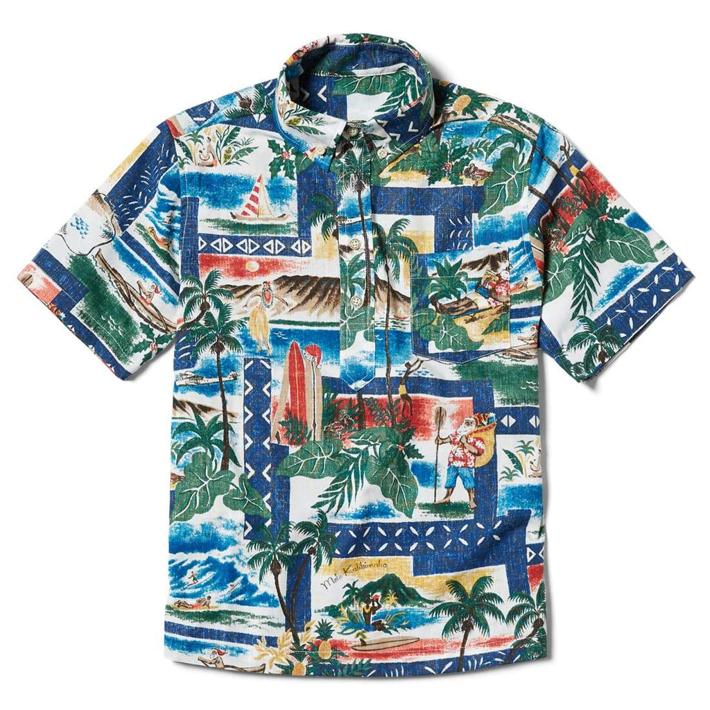 Reyn Spooner Hawaiian Christmas Boys Pullover Shirt in ROYAL